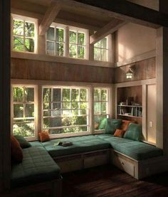 Don't let the space near your window unused. Instead, turn the space into a comfy window seat. Here we listed window seat ideas to help you create one Aesthetic Rooms, Dream Rooms, House Rooms, Cozy House, Cozy Cabin, Home Interior Design, Interior Ideas, Interior Stairs, Rustic Home Design