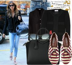 """Get the look: Miranda Kerr in striped sneakers"" by katijaa ❤ liked on Polyvore"