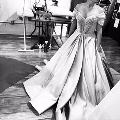 Cascading faille pleated gown being worked on in the studio today. #ChristianSiriano #madeinnewyork