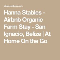 Hanna Stables - Airbnb Organic Farm Stay - San Ignacio, Belize | At Home On the Go