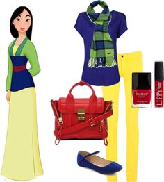 """""""Cartoon character inspired fashion- Mulan!"""" by heather-martin-i on Polyvore"""