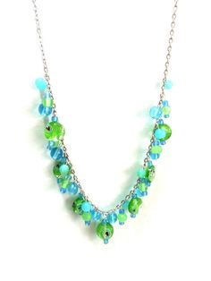 Blue and Green Filigree Necklace Blue and by DCArtandPhotography