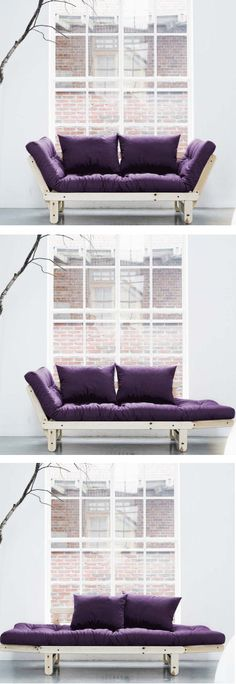 Purple Convertible Futon // can be a couch, a daybed chaise lounge, or an extra bed! #product_design #furniture_design