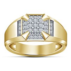 14K Yellow Gold Finish 0.40 Carat Round Diamond Men's Ring Size 7-14 Available #aonedesigns #MensEngagementRing