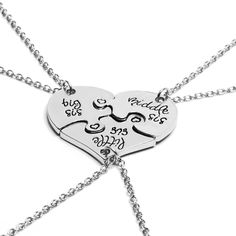 New 3pcs Little Middle Big Sister Jigsaw Broken Heart Pendant Necklace Silver Chain Necklace Best Friend Your Friend Gift