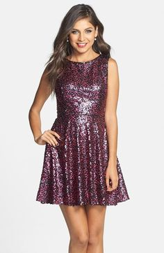 Taylor, this would be great for Homecoming. Hailey Logan Sequin Cutout Back Fit & Flare Dress (Juniors) available at #Nordstrom