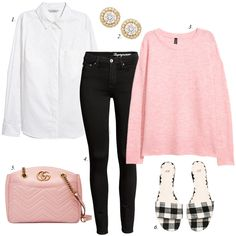 create a cute spring wardrobe of budget items, pink sweater, gingham mules, skinny black jeans, gucci bag