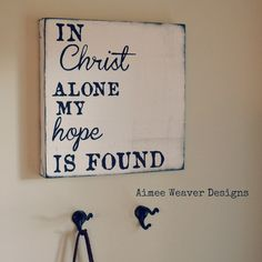 "Handpainted ""In Christ Alone"" Canvas Sign 12X12 (customized colors). $35.00, via Etsy."