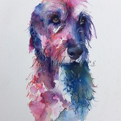 Lurcher in colour painted by watercolour artist Jane Davies. Available as an LIMITED EDITION PRINT.