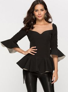 Shop Black Square Neck Flare Sleeve Falbala Blouse at EZPOPSY. Black Square, Black Blouse, Half Sleeves, Fashion Online, Peplum Dress, Flare, Stylish, Ruffle Sleeve, Dresses
