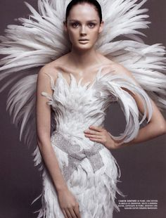 #fashion x Flair (IT) September 2005  Nuo Vo Look  Photography by Alix Malka  Lisa Cant x gorgeous feathers