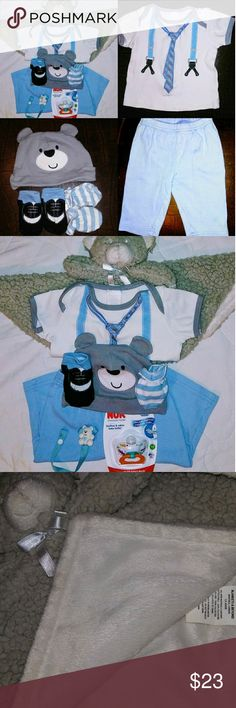 """Macy's Baby Boy Fancy Bear Bundle 8 Pc Set 0-3 Mth Includes:   1 Plush/Wool Blankets & Beyond Stuffed Bear Blanket  Macy's First Impressions: 1 Fancy Suspenders & Tie Print Cotton Top  1 Pair Light Blue Cotton Slacks 1 Matching Pair of """"Fancy Shoes"""" Print Cotton Socks 1 Matching Gray """"Baby Bear Face with Ears"""" Cotton Hat  1 Pair Cotton Blue & White Striped Mittens 1 Baby Bear Pacifier Clip 1 Nuk Orthodontic Pacifier New in Package 0-6 Month.  Gently worn only once and in excellent condition…"""
