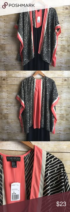 Black & Coral Kimono BNWT ▪️Gorgeous colors in a very flattering print▪️ Forever 21 Plus Other