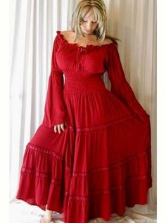 BOHO PEASANT SMOCKED DRESS (RED) by Curvy Clothing on CurvyMarket.com