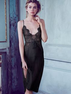 Victoria's Secret Embellished Lace & Chiffon Slip- Victoria's Secret Designer Collection
