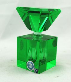 Vintage 1930s Art Deco Square Perfume Bottle, hand-cut Irice, emerald green glass, made in Japan