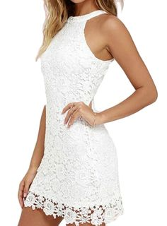 7ae1ccef751 Bloomyma Womens Sexy Sleeveless Slim Fit Lace Mini Dress White 3XS    Read  more reviews of the product by visiting the link on the image.