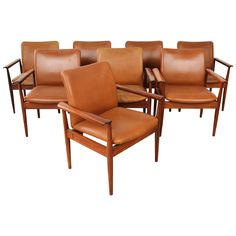 Set of Eight Finn Juhl Mid Century Rosewood and Leather Dining Chairs