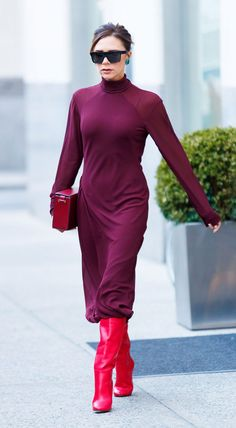 Loving this red monochrome outfit on Victoria Beckham!