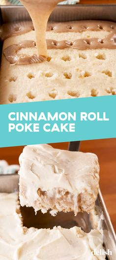 Roll Poke Cake This poke cake tastes EXACTLY like a cinnamon roll. Get the recipe at .This poke cake tastes EXACTLY like a cinnamon roll. Get the recipe at . Poke Cakes, Poke Cake Recipes, Cupcake Cakes, Dessert Recipes, Cupcakes, Poke Recipe, White Cake Recipes, Layer Cakes, Appetizer Recipes