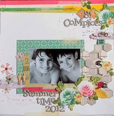 Karinne's layout using the hexagons, Bunch of flowers and sentiment tags.