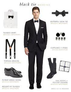 Men's attire for a black tie wedding