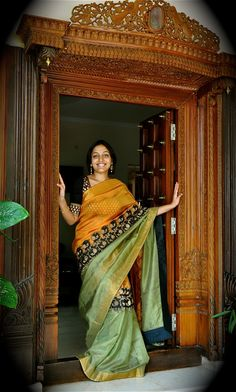 Imposing YellowColored Soft Silk Saree with Matching Color silk Blouse. It contained of Printed. The Blouse which can be customized up to bust size This Unstitch Saree Length mtr including mtr Blouse. Indian Attire, Indian Wear, Indian Dresses, Indian Outfits, Pooja Room Door Design, Design Room, Soft Silk Sarees, Cotton Saree, Pooja Rooms