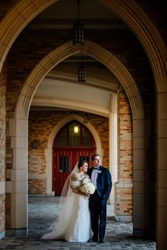 Bride and groom have great winter wedding style on college campus