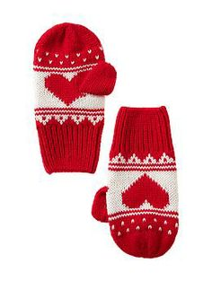 Fair Isle knit mittens l GAP Crochet Mittens, Fingerless Mittens, Knit Crochet, Fair Isle Knitting, Knitting Yarn, Knitting Patterns, Knitting Ideas, Toddler Girl Shoes, Fair Isle Pattern