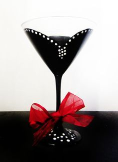 Audrey Martini gllass - hand painted - black and white - red ribbon - can be custom | Durban Decor