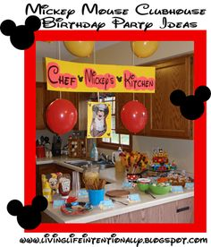 Mickey Mouse Clubhouse Birthday Party - food ideas, homemade cake, decorations, Mickey party games, and more