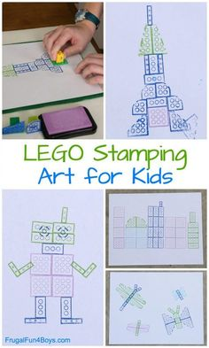 Stamping: It's Art with Bricks LEGO Stamping: It's Art with Bricks! What a fun activity for an art class or a LEGO club.LEGO Stamping: It's Art with Bricks! What a fun activity for an art class or a LEGO club. Activities For 6 Year Olds, Lego Activities, Art Activities For Kids, Art For Kindergarteners, Lego Games, Camping Activities, Science For Kids, Therapy Activities, Kindergarten Art