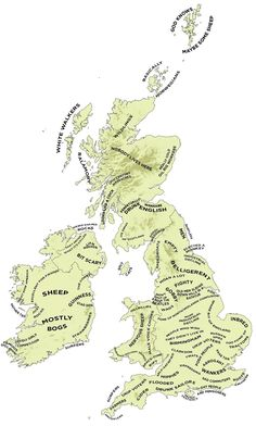 The Definitive Stereotype Map Of Britain And Ireland [living down with the Pensioner's and the Gay People]