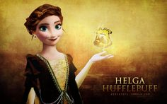 """The four founders (Frozen edition) - Helga Hufflepuff [x]  ↳ """"Those patient Hufflepuffs are true, and unafraid of toil.""""  THIS IS PERFECT *screams forever*"""
