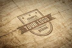 Carved Wood Effec Logo Mockup Template | ShareTemplates