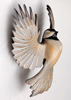 Chickadee wood sculpture woodcarving in Ash by Jason Tennant.