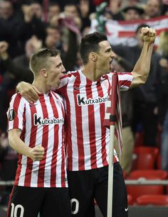 Athletic Bilbao's forward Aritz Aduriz (R) celebrates with teammate forward Iker Muniain after scoring his team's fourth goal during the Europa League Group F football match Athletic Club de Bilbao vs KRC Genk at the San Mames stadium in Bilbao on November 3, 2016. / AFP / ANDER GILLENEA Iker Muniain, Athletic Clubs, November 3, Football Match, Europa League, True Love, Squad, Spain, Goals