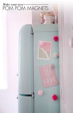 Pom Pom Magnets - Home Decor DIYs - Photos #DIYHomeDecorRental