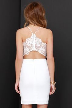 Sexy Ivory Dress - Lace Dress - Bodycon Dress - $49.00