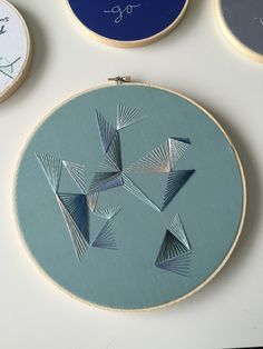 Geometric Abstract Art Embroidery Hoop Wall by HalfCrassStitched