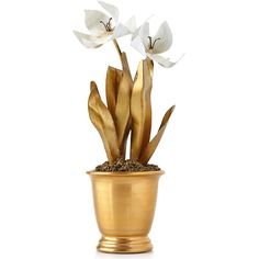 Tommy Mitchell Gilded Potted Tulip (19 705 ZAR) ❤ liked on Polyvore featuring home, home decor, flowers, gold and handmade home decor