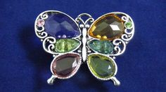 Butterfly Multi-Color Crystal Stretch Ring One Size Adjustable Silver Tone  #Unknown #Fashion