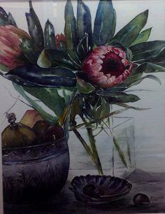 Proteas, Watercolour, Elizabeth Little Protea Art, Flower Art, Art Flowers, Claude Monet, White Decor, Flower Paintings, Art Paintings, Botanical Art, Still Life