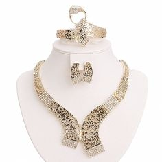 BiLiBiLi 18K Gold Plated Exotic Jewelry Sets for Women Party Wedding Costume Necklace Bracelet Earrings Ring -- You can get more details here : Jewelry Sets