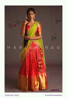 Kanjeevaram saree as skirt? Half Saree Lehenga, Lehenga Gown, Lehenga Style, Lehenga Choli Online, Saree Dress, Anarkali, Saree Blouse Neck Designs, Half Saree Designs, Lehenga Designs