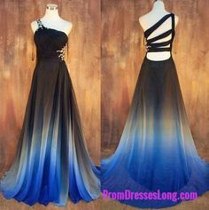 One Shoulder Prom Dress,Gradient Prom Dress,Pretty Prom Gown,Long Evening Dress,Evening Gown MT20181386