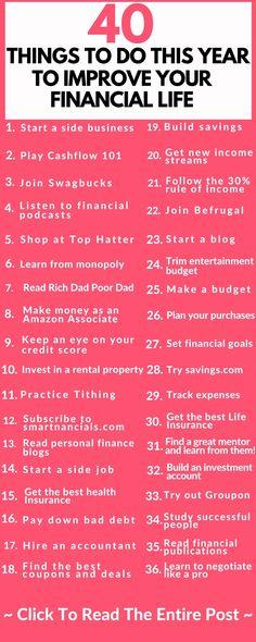 Amazing Ways To Improve Your Finances This Year - SmartNancials - Finance tips, saving money, budgeting planner Financial Peace, Financial Tips, Financial Planning, Financial Assistance, Financial Literacy, Budgeting Finances, Budgeting Tips, Ways To Save Money, Money Saving Tips