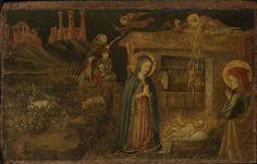Nativity of Christ and Annunciation to the Shepherds / La Natividad de Cristo y la Anunciación a los Pastores // c. 1425-1430 // Artist/maker unknown / Made in The Marches, Italy // © Philadelphia Museum of Art // #Jesus #Christ #Christmas #Navidad #Noël #Natale
