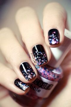 Black with glitter nail art