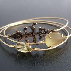 Set aus 3 Armreife Erstes Sonnenlicht - Gold, Gelb